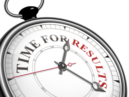 time for results concept clock isolated on white background Ilustracja