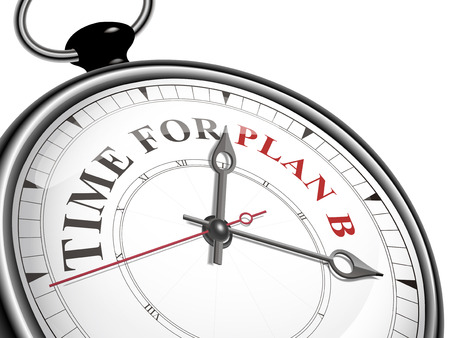 alter: time for plan B concept clock isolated on white background