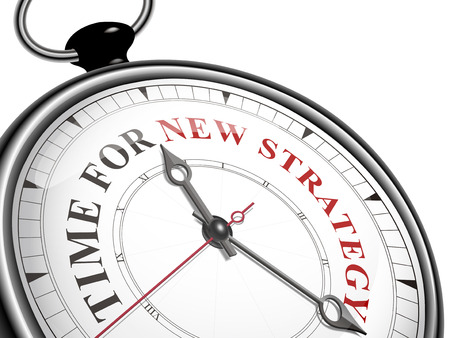 new strategy: time for new strategy concept clock isolated on white background