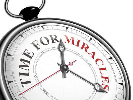 instant message: time for miracles concept clock isolated on white background