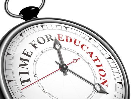 tijd voor onderwijs concept klok geïsoleerd op een witte achtergrond Stock Illustratie