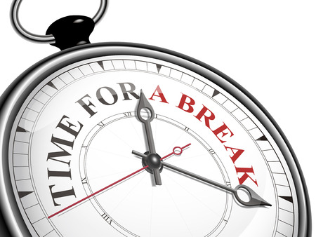 break up: time for a break concept clock isolated on white background