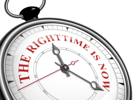 El momento adecuado es ahora el concepto de reloj aislado en fondo blanco Foto de archivo - 34664341