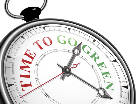 go green: time to go green concept clock isolated on white background Illustration