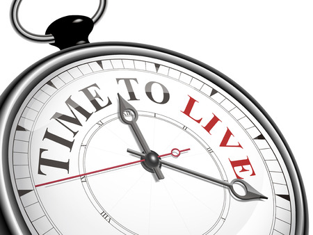 reside: time to live concept clock isolated on white background