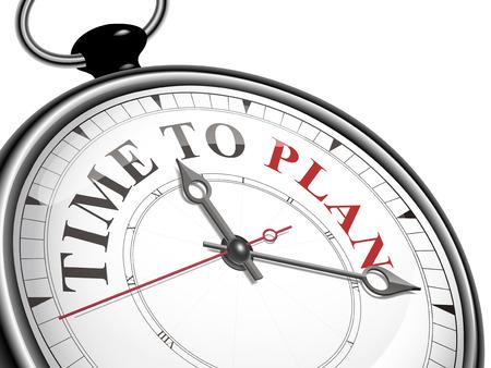 白い背景に分離されたコンセプトの時計を計画する時間