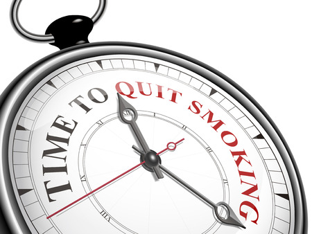 quit smoking: time to quit smoking concept clock isolated on white background Illustration