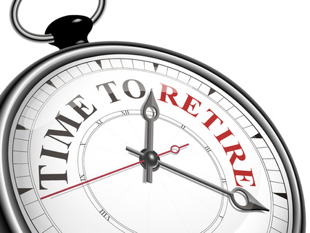tijd om begrip klok met pensioen gaan op een witte achtergrond Stock Illustratie