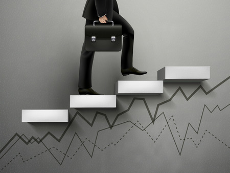 uphill: Businessman going up with line graph on wall Illustration