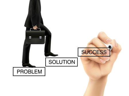 problem solving: businessman is going up to the future success over white background