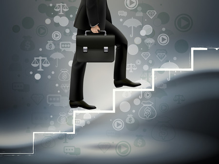 thumbnail: businessman walking on hand drawn stairs over technological background