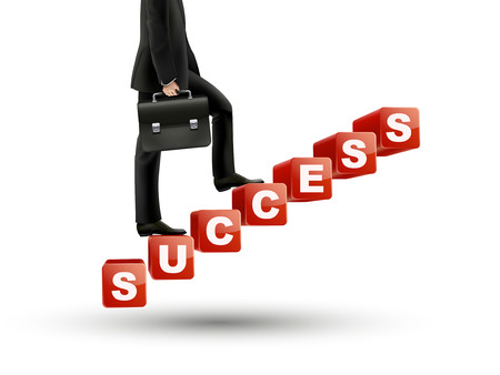up stair: businessman walking on success stairs over white background