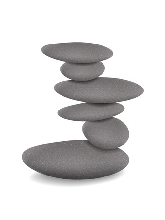 stacked stones: stones in balanced pile isolated over white background