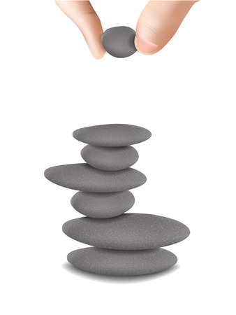 stacked stones: hand finished stone tower isolated on white background