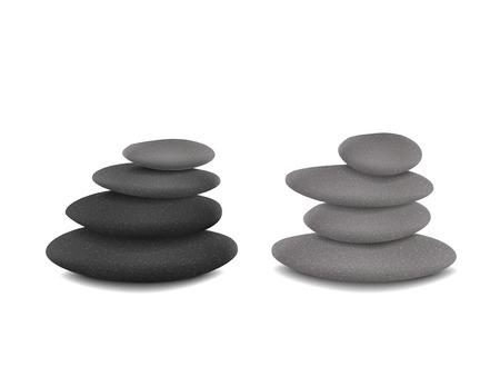 balanced stone towers isolated over white background 일러스트