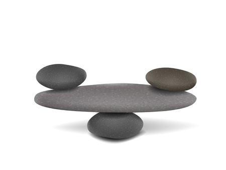 stones balanced on flat stone bridge over white background
