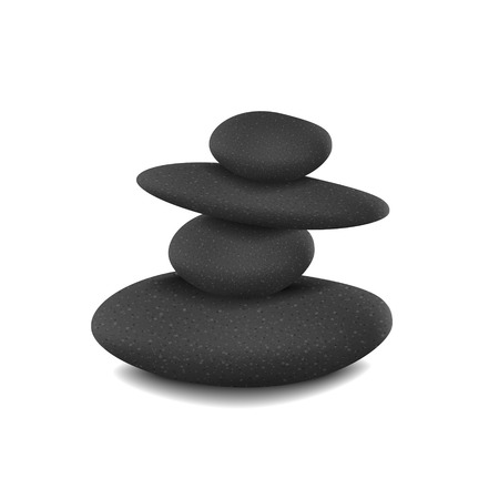 balanced: stones in balanced pile isolated over white background