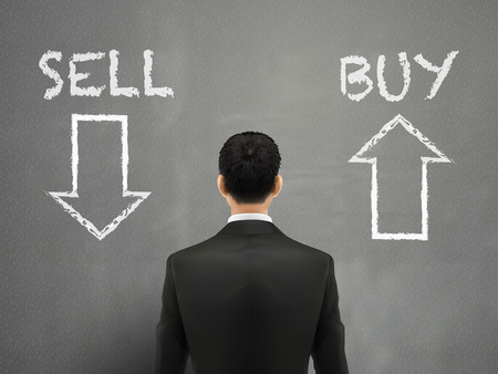 stock price quote: businessman and a choice of sell or buy over grey Illustration