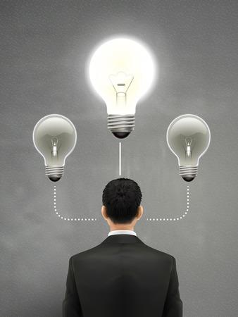 back problem: businessman with lighting bulb above head over grey Illustration