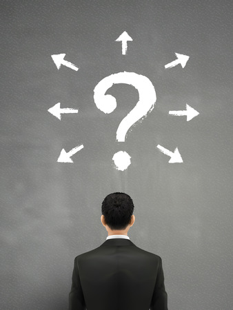 firm: businessman with question mark above head over grey Illustration