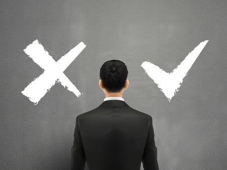 back problem: businessman and a choice of yes or no over grey