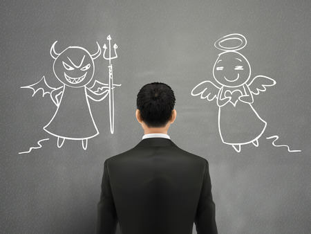 businessman facing of devil and angel over grey wall Illustration