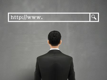 search box: SEO concept: businessman with a search box above head