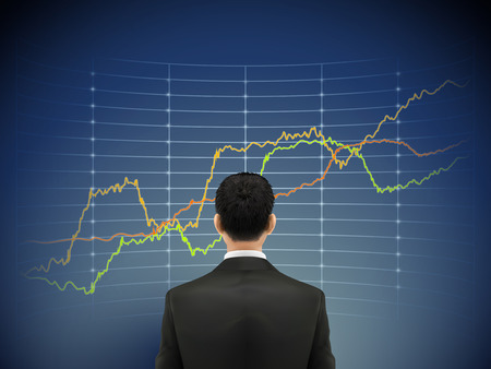 businessman stands in front of forex chart over blue background 向量圖像