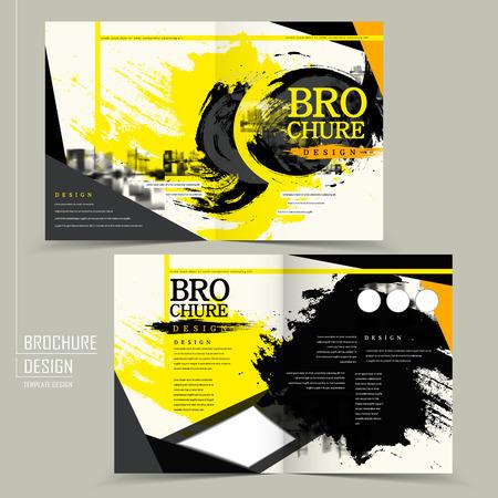 stylish half-fold brochure design in black and yellow