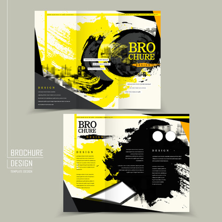 stylish tri-fold brochure design in black and yellow Illustration