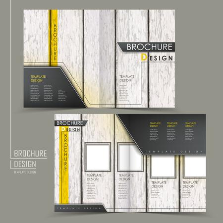 wood grain: retro wood grain half-fold brochure template design over grey Illustration