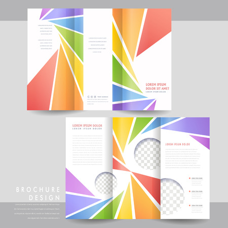 colorful tri-fold brochure template design with spiral triangle elements