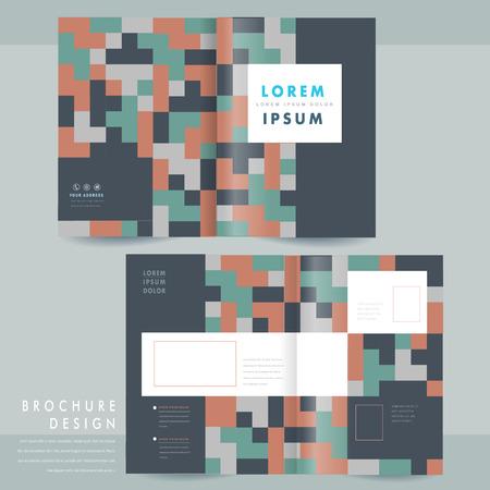 fold back: creative geometric half-fold brochure template design over blue