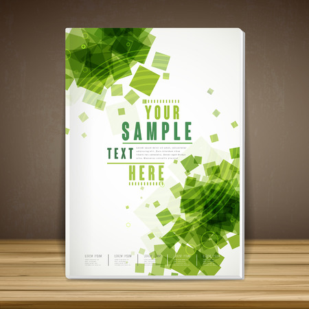 web site design template: abstract book cover template design with green translucent square Illustration