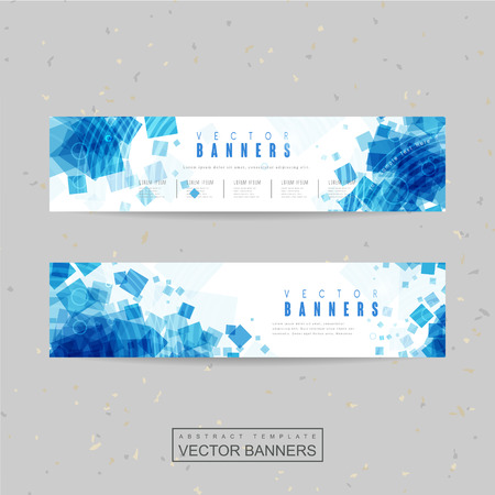 cubic: abstract banner template design with blue translucent square