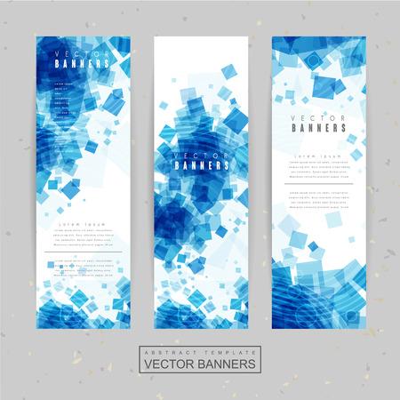 banner template design met blauwe doorzichtige vierkante