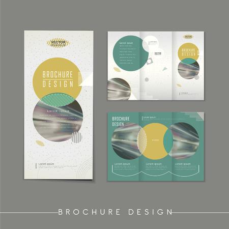 circle 要素とモダンな抽象的な三つ折りパンフレットのテンプレート デザイン  イラスト・ベクター素材