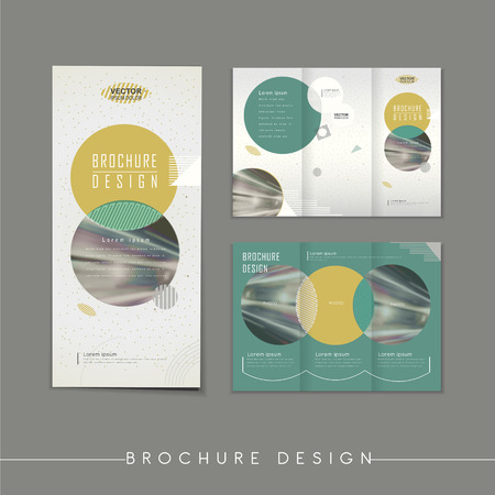 modern abstract tri-fold brochure template design with circle elements
