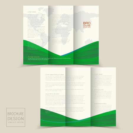 緑色で動的な波と 3 つ折りパンフレットのデザイン テンプレート