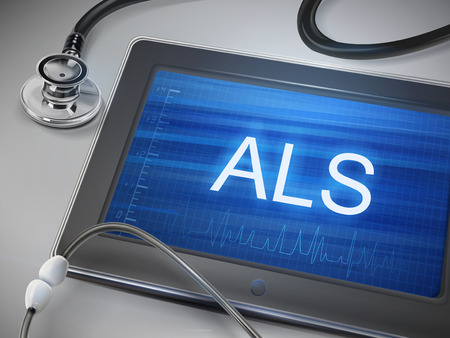 muscle spasm: ALS word display on tablet over table