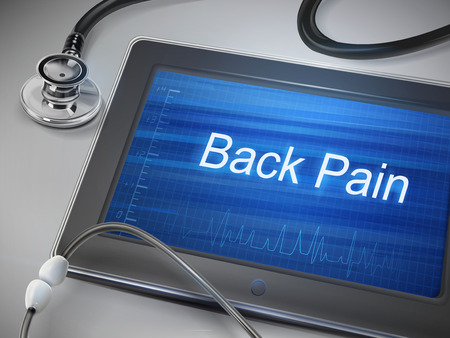 pain: back pain words display on tablet over table Illustration