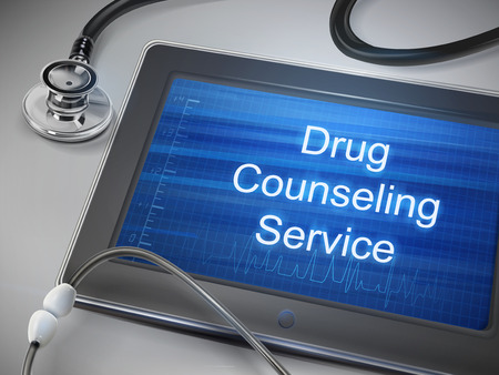 drug abuse: drug counseling service words display on tablet over table