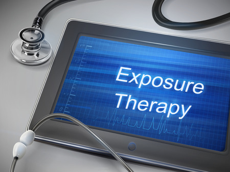 traumatic: exposure therapy words display on tablet over table Illustration