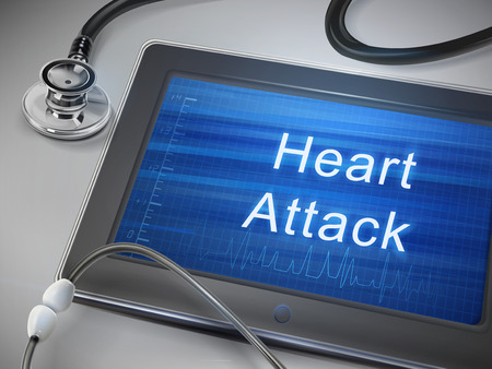 heart attack: heart attack words display on tablet over table