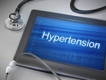 hypertension: hypertension word display on tablet over table