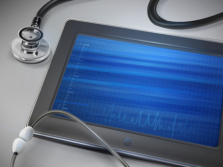 blank tablet: blank tablet with stethoscope isolated over table Illustration