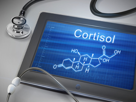 steroid: cortisol word display on tablet over table