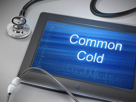 in common: common cold words display on tablet over table Illustration