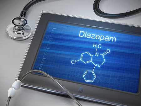 diazepam word display on tablet over table