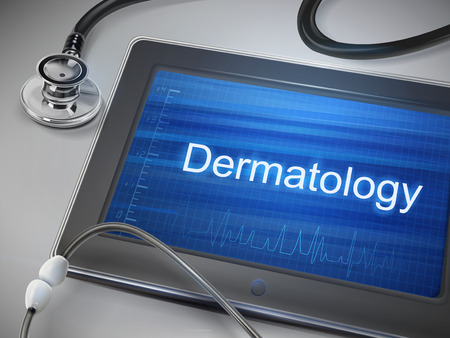dermatology: dermatology word display on tablet over table